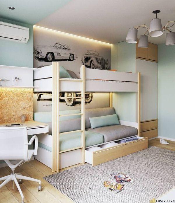 Giường tầng kết hợp tủ quần áo cho bé trai - Mẫu 9