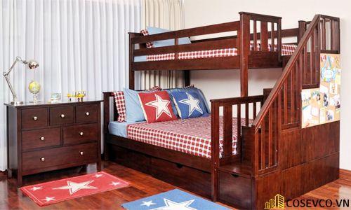 Mẫu giường tầng kèm tủ quần áo hiện đại - Mẫu 7