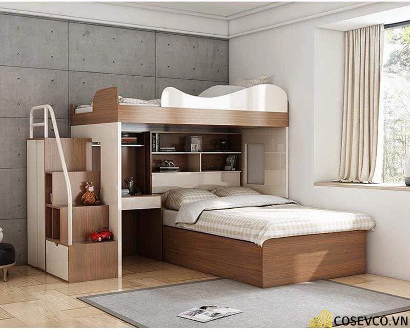 Mẫu giường tầng kèm tủ quần áo hiện đại - Mẫu 3