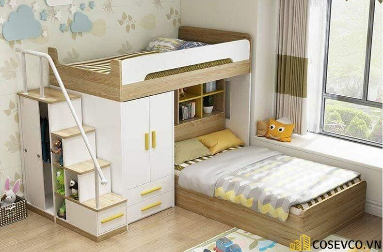 Mẫu giường tầng kết hợp tủ quần áo cho bé - Mẫu 3