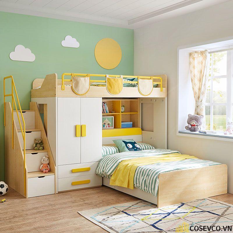 Mẫu giường tầng kết hợp tủ quần áo cho bé - Mẫu 2