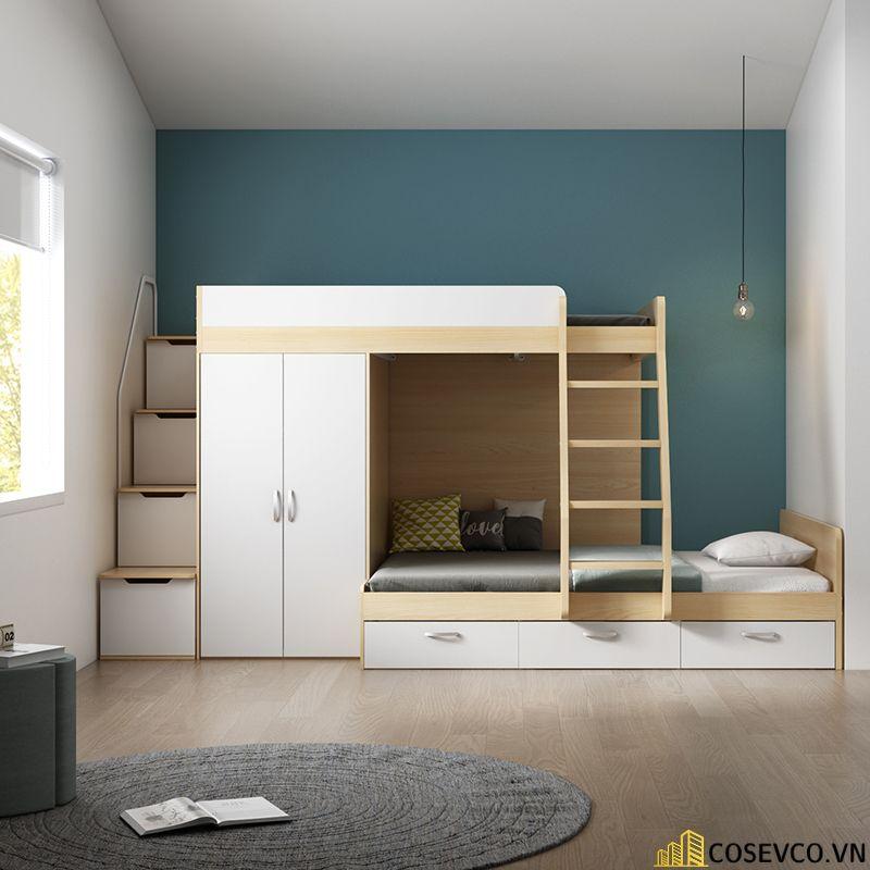 Mẫu giường tầng kèm tủ quần áo hiện đại - Mẫu 1