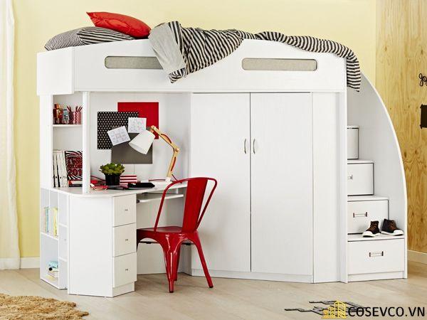 Mẫu giường tầng kèm tủ quần áo hiện đại - Mẫu 6