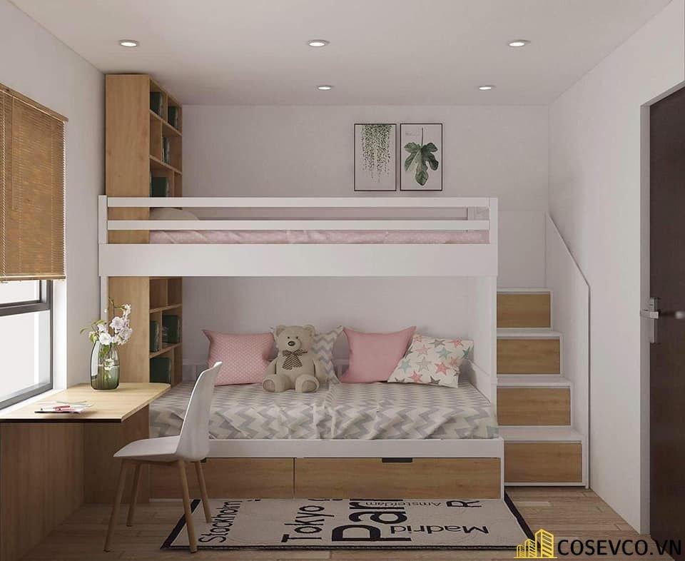 Mẫu giường tầng kết hợp tủ quần áo cho bé - Mẫu 1