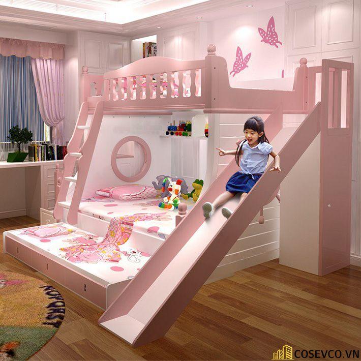 Giường tầng kết hợp tủ quần áo cho bé gái - Mẫu 1
