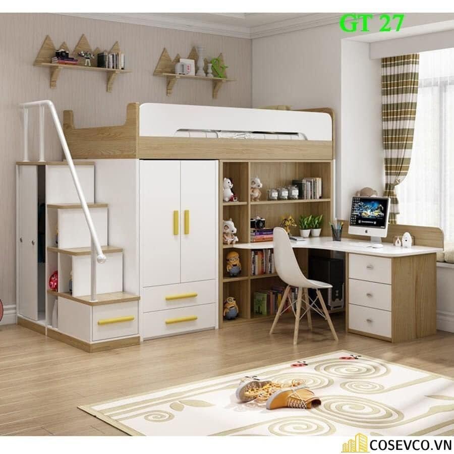 Giường tầng được thiết kế tích hợp giữa tủ quần áo, tủ sách và bàn học