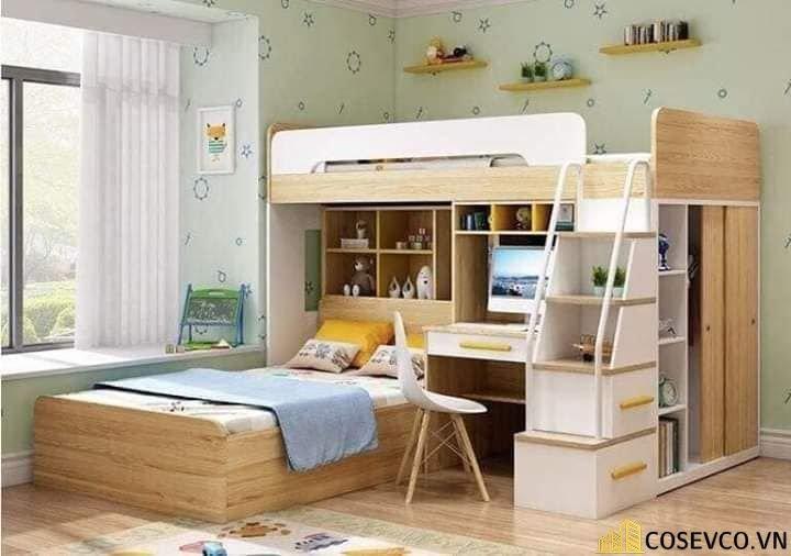 Mẫu giường tầng kèm tủ quần áo hiện đại - Mẫu 5
