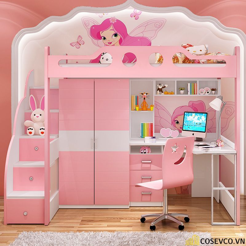 Giường tầng kết hợp tủ quần áo cho bé gái - Mẫu 3
