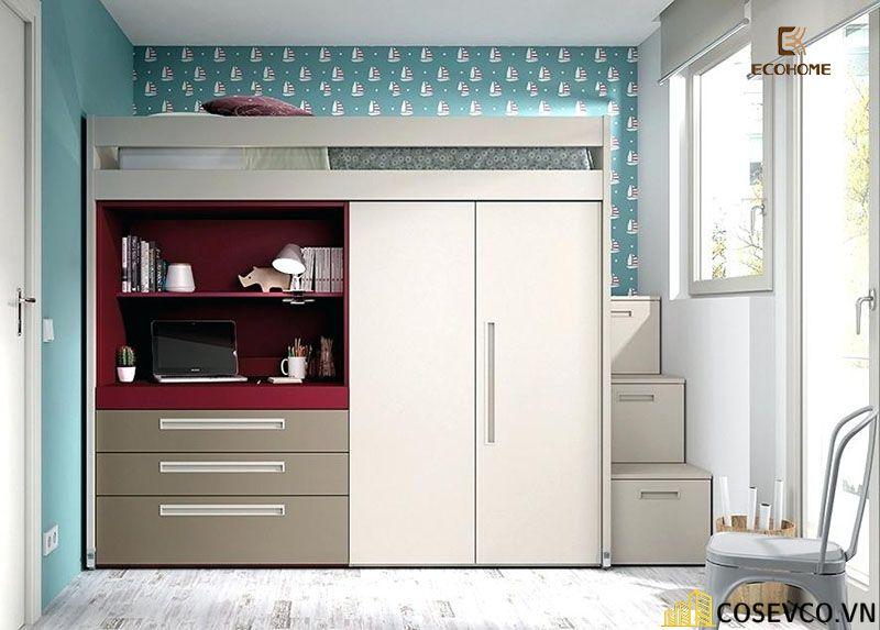 Giường tầng kết hợp tủ quần áo cho bé trai - Mẫu 6