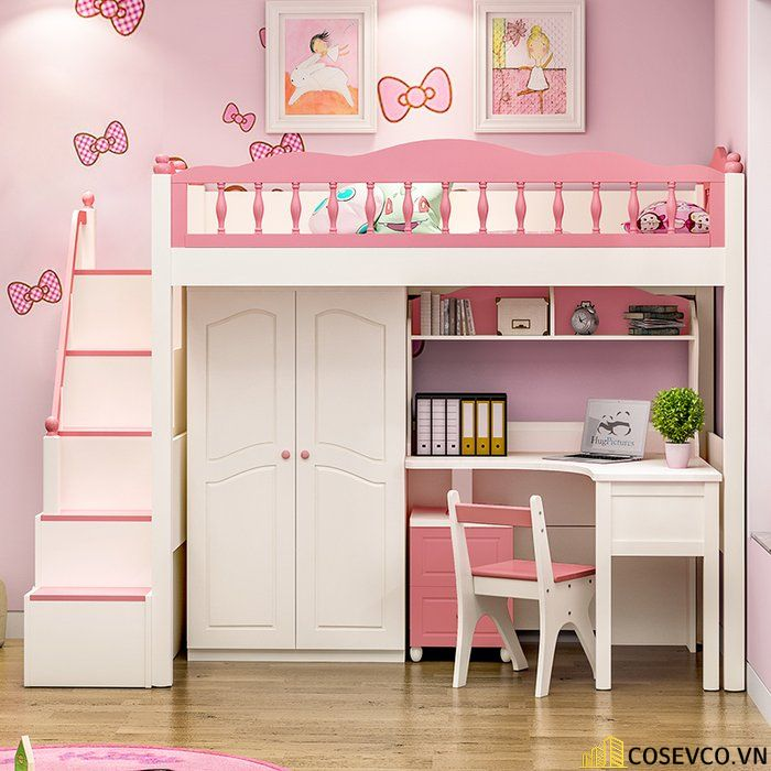 Giường tầng kết hợp tủ quần áo cho bé gái - Mẫu 2