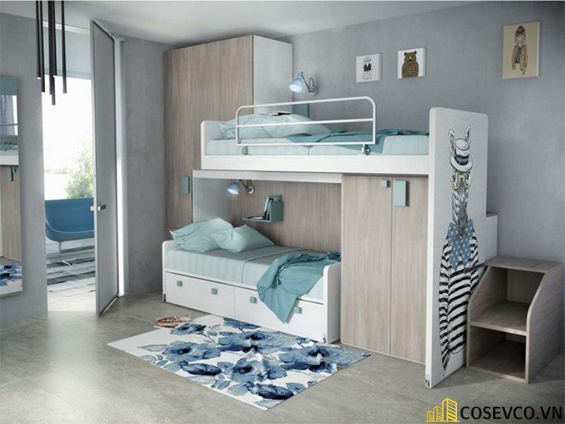 Giường tầng kết hợp tủ quần áo cho bé trai - Mẫu 3