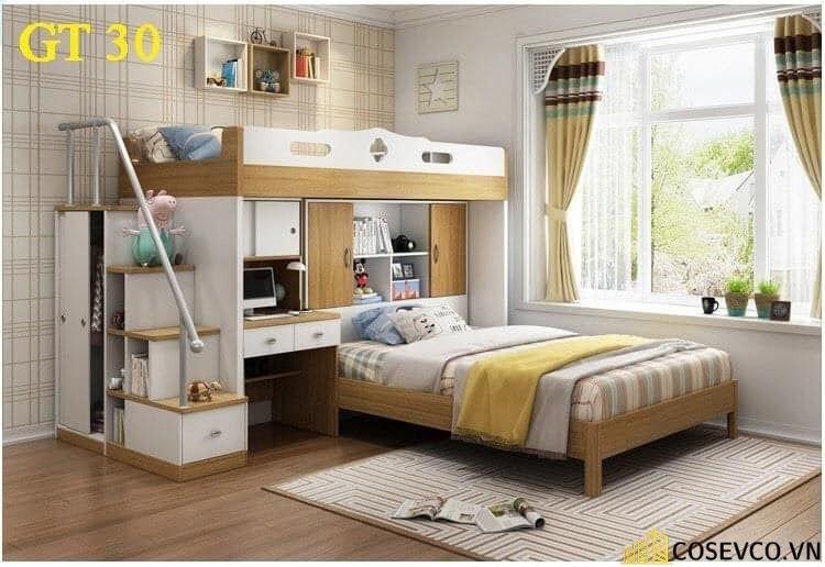 Mẫu giường tầng kết hợp tủ quần áo cho bé - Mẫu 4