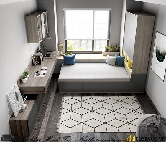 Mẫu giường kết hợp tủ phù hợp với những chủ nhân có căn phòng ngủ diện tích nhỏ