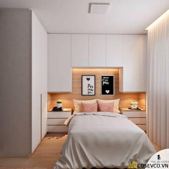 Mẫu giường kết hợp tủ thiết kế đơn giản nhẹ nhàng tạo không gian thoải mái cho gia chủ