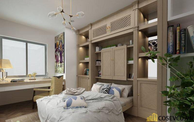 Mẫu giường thông minh kết hợp tủ với gỗ tự nhiên sang trọng tinh tế