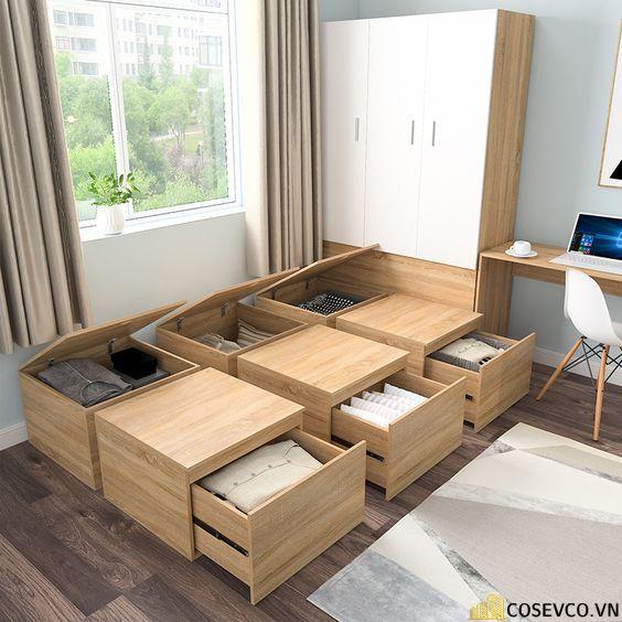 Kích thước và kết cấu bộ giường thông minh kết hợp tủ quần áo có thể thay đổi kích thước.