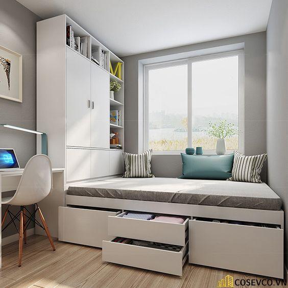 Bộ giường thông kết hợp tủ sách với chức năng 2 trong 1 với 2 giá sách 2 bên và bộ giường gấp thông minh tiện lợi