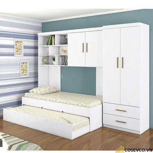 Mẫu giường gấp ngang kết hợp tủ quần áo đơn giản ấn tượng hiện nay