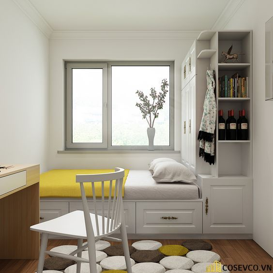 Mẫu giường kết hợp tủ áo quần luôn mang đến không gian tiện nghi nhất