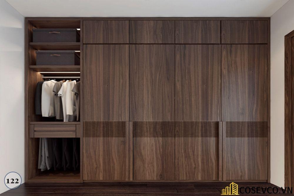 Tủ quần áo âm tường gỗ tự nhiên sang trọng - Mẫu 5