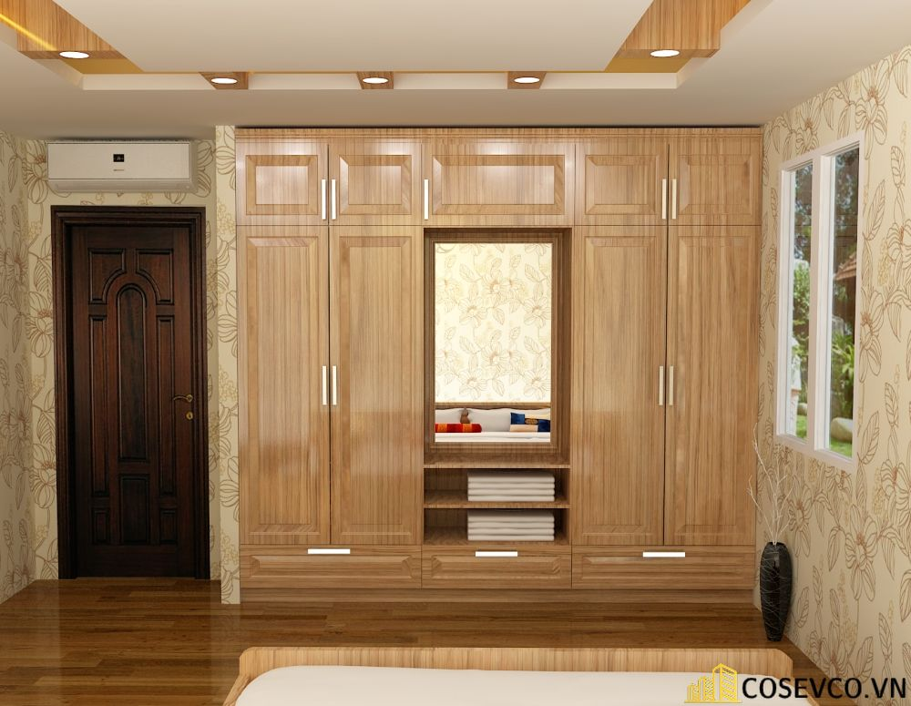 Tủ quần áo âm tường gỗ tự nhiên sang trọng - Mẫu 4