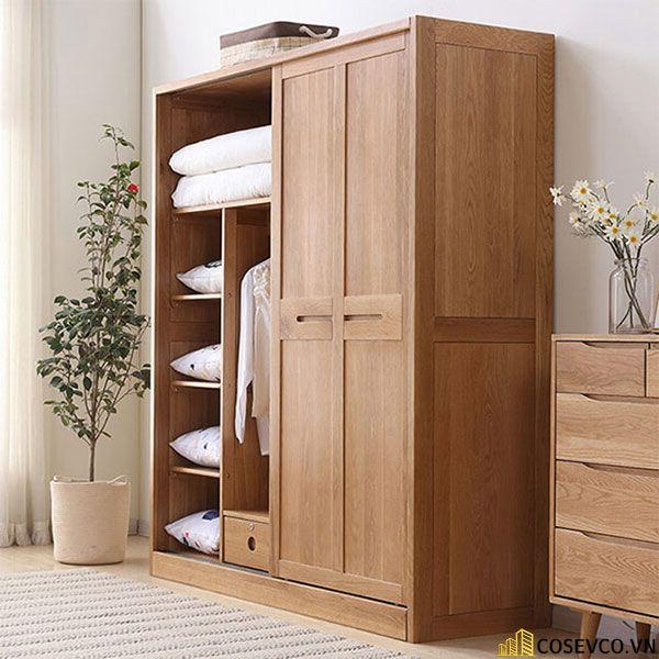 Tủ quần áo âm tường gỗ tự nhiên sang trọng - Mẫu 2