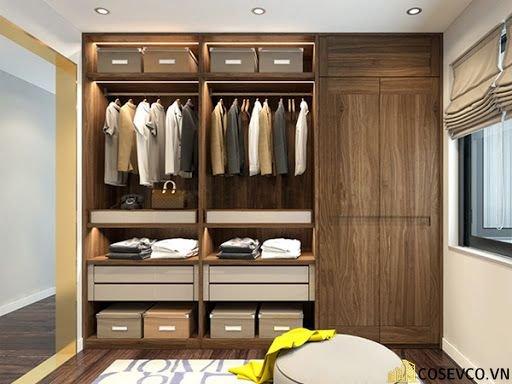 Tủ quần áo âm tường gỗ tự nhiên sang trọng - Mẫu 3