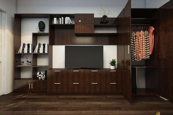 Mẫu tủ quần áo kết hợp kệ tivi đẹp - Hình ảnh 5