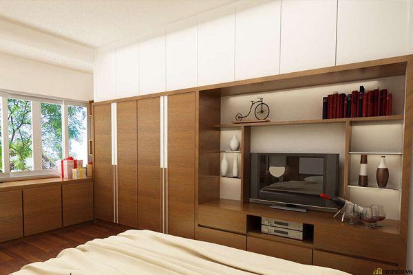Mẫu tủ quần áo có kệ tivi, tủ trang trí trong phòng ngủ