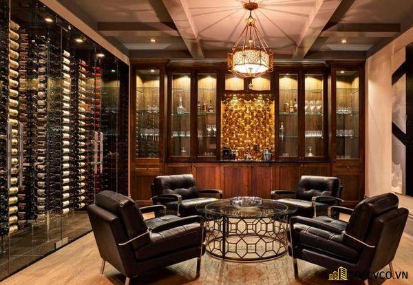 Mẫu tủ rượu âm tường phòng khách đẹp – Mẫu 1