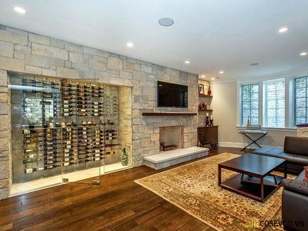 Tủ rượu âm tường bằng kính mang lại nét sang trọng