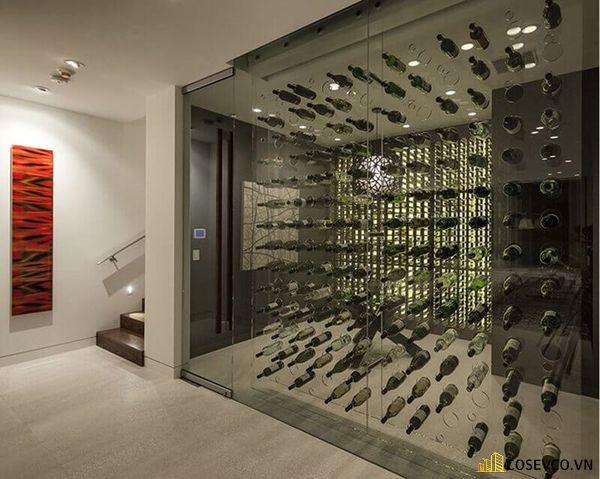 Mẫu tủ rượu âm tường phòng khách đẹp – Mẫu 4