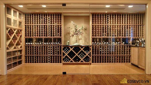 Kích thước tủ rượu âm tường phòng khách khá lớn