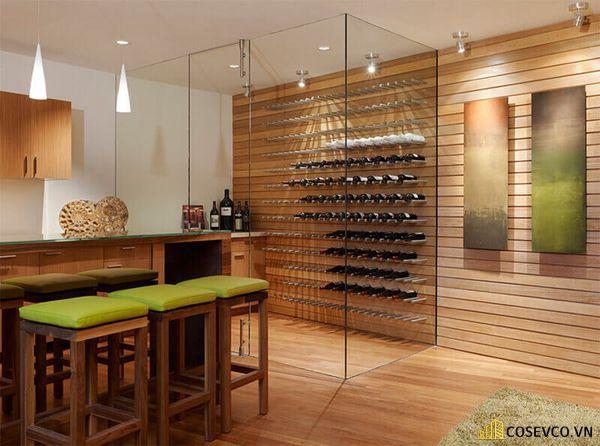 Kích thước tủ rượu âm tường phòng bếp nhỏ hơn phòng khách