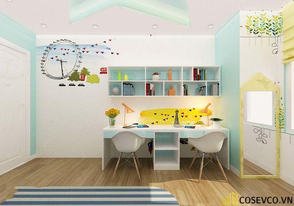 Thiết kế phù hợp với gia đình có 2 bé cùng học tập trong một không gian, đặc biệt là gia đình có bé sinh đôi - M1