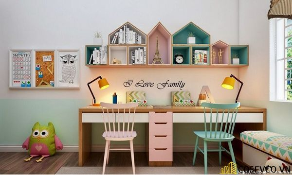 Thiết kế phù hợp với gia đình có 2 bé cùng học tập trong một không gian, đặc biệt là gia đình có bé sinh đôi - M2