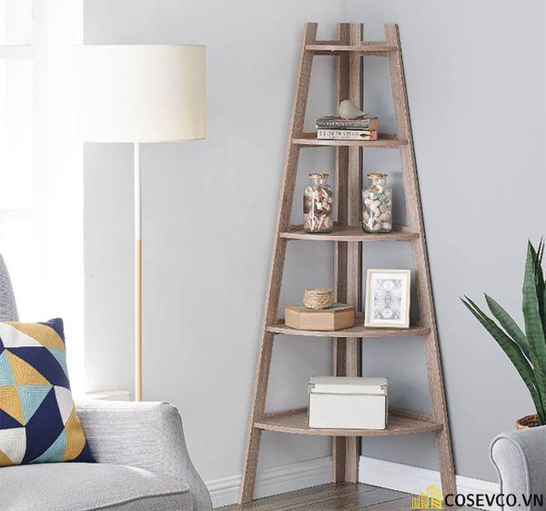 Giá sách đẹp dựng góc tường - Mẫu 2