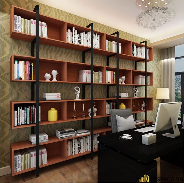 Tủ sách đẹp bằng khung sắt - Mẫu 6