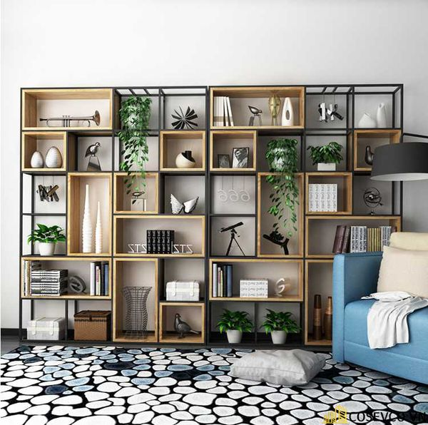 Tủ sách đẹp bằng khung sắt - Mẫu 5