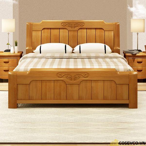 Những mẫu giường gỗ sồi Mỹ đẹp bền có thiết kế đa năng - Mẫu 1