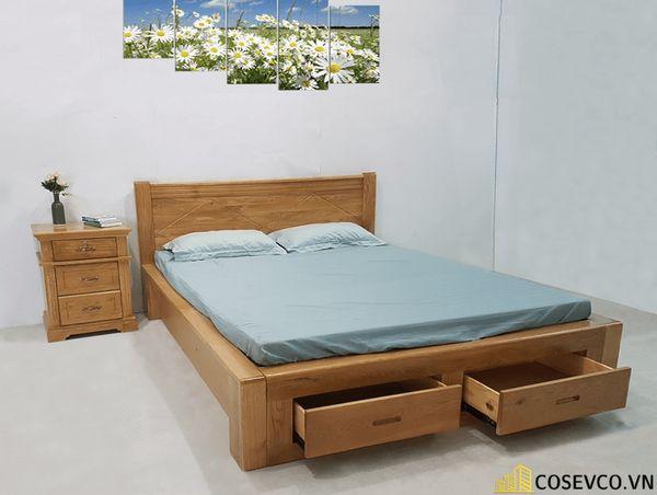 Giường gỗ sồi có ngăn kéo - Mẫu 3