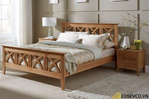 Những mẫu giường gỗ sồi Mỹ đẹp bền có thiết kế đa năng - Mẫu 2