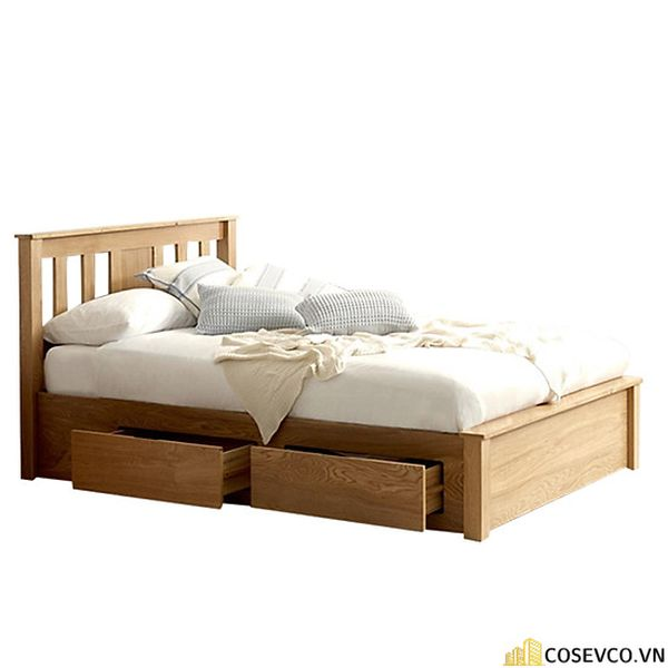 Giường ngủ bằng gỗ sồi phù hợp cho phòng ngủ của gia đình - M7