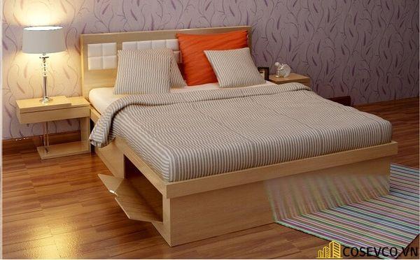 Giường gỗ sồi hiện đại có hộp để đồ tiện dụng - M10