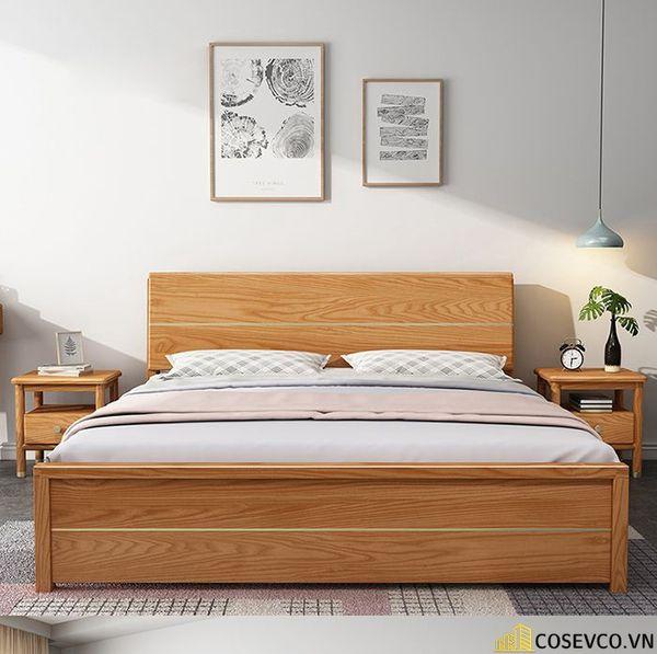 Giường ngủ bằng gỗ sồi phù hợp cho phòng ngủ của gia đình - M11