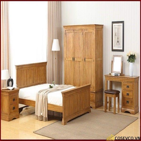 Giường ngủ bằng gỗ sồi phù hợp cho phòng ngủ của gia đình - M12