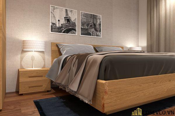 Lựa chọn giường gỗ sồi đỏ không chỉ mang hơi ấm thiên nhiên mộc mạc vào căn phòng - Mẫu 3