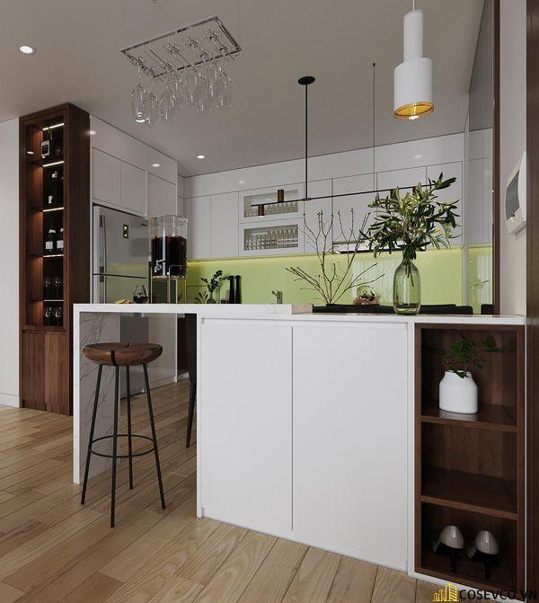Hệ thống tủ bếp - bàn ăn gỗ MDF thiết kế thông minh với tông màu trắng nâu nổi bật, cực sang trọng - View 1