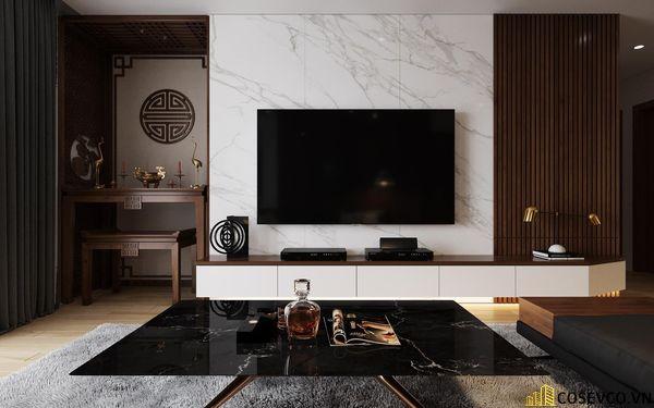 Nội thất phòng khách được sử dụng vật liệu gỗ MDF chống ẩm tạo không gian hiện đại trẻ trung và cực kỳ sang trọng - View 2