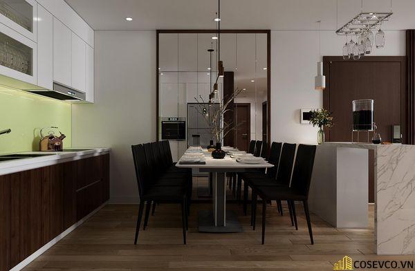 Hệ thống tủ bếp - bàn ăn gỗ MDF thiết kế thông minh với tông màu trắng nâu nổi bật, cực sang trọng - View 2
